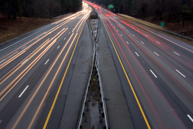 long exposure of highway with car headlight streaks